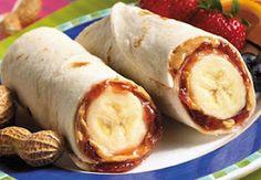 peanut butter, honey or jelly and banana