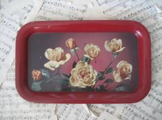 Vintage metal floral tray by scrappyjessi on Etsy, $10.00