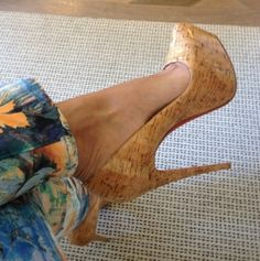 Christian Louboutin Daffodile Natural Cork Pumps - Evelyn Lozada