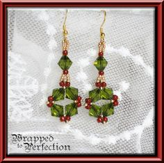 Olive Ruby Red & Gold Earrings / Swarovski by WrappedToPerfection, $21.00