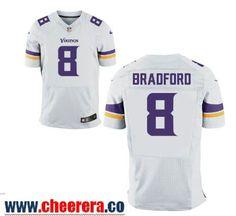 Men's Minnesota Vikings #8 Sam Bradford White Road Stitched NFL Nike Elite Jersey