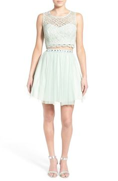 Sequin Hearts Crochet Lace Two-Piece Party Dress available at #Nordstrom
