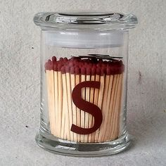 Jar Match Holder with Personalized Letter Striker by StrikeAMatch, $18.00