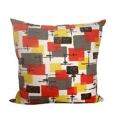 "Mid Century Cushion Cover, Red Black Yellow Vintage Fabric 20"" x 20 """