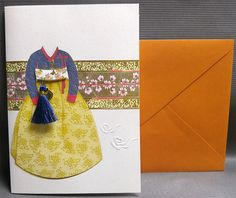 Korean Traditional Designed Card - Korean Traditional Cloth Hanbok 5 by lovingpaper on Etsy