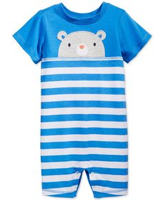 First Impressions Baby Boys' Stripes & Bear Sunsuit, Only at Macy's - Blue 24 months Teddy Bear Clothes, Cute Baby Clothes, Cute Babies, Baby Kids, Baby Baby, Sheep Nursery, Bear Graphic, Mother And Baby, Baby Boy Outfits
