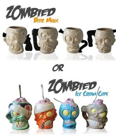 Want. Zombie Head Beer Mugs or Ice Cream Cups