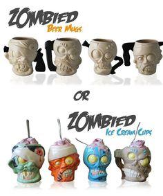 Zombie Head Beer Mugs or Ice Cream Cups