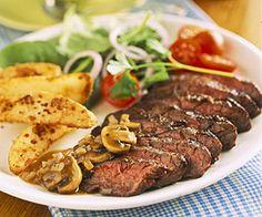 Skirt Steak With Mushroom Sauce And Seasoned Fries