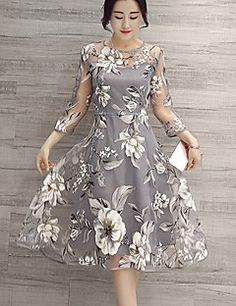 Women's Casual/Daily Street chic A Line Dress,Floral Round Neck Knee-length Long Sleeve Gray Polyester Spring
