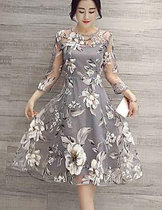 Robe Aux femmes Trapèze Chic de Rue,Fleur Col Arrondi Mi-long Polyester