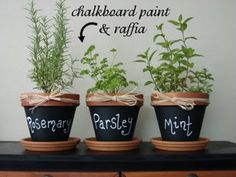 Cute herb pots with chalkboard writing