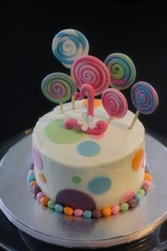 Fondant Candy Themed Decorations with Lollipops, Polka Dots and Big Fancy Age Topper Perfect for a Birthday or Smash Cake. $32.00, via Etsy.