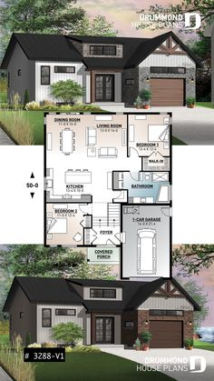 Farmhouse bungalow house plan with open concept - Scandinavian inspired house plan, open floor plan, 2 bedrooms, unfinished basement, one-car garage - Sims House Plans, Basement House Plans, House Layout Plans, Bungalow House Plans, Cottage House Plans, Country House Plans, New House Plans, Modern House Plans, Small House Plans