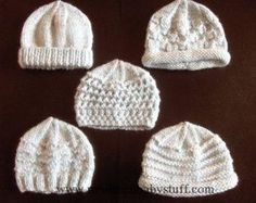 Baby Knitting Patterns Premature Small Baby Knitting Pattern For 5 Hats...