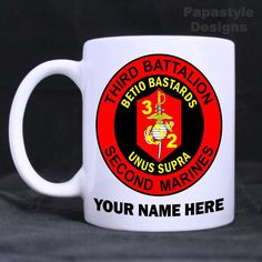 3rd Battalion 2nd Marines Personalized 11oz Coffee Mugs Made in the USA. #Handmade