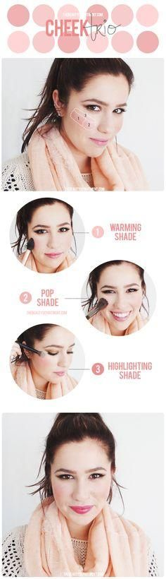 Get a rosy flush by combining a warm shade, a cool shade & a shimmer shade!