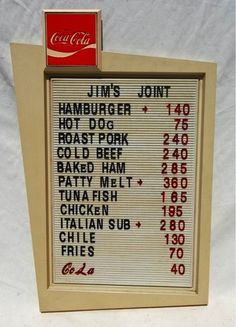Vintage Coca-Cola Restaurant Menu Board Sign - Jim's Joint - Coke Soda Pop  #Brandyn Hargrove .....Dad wants this for his birthday!