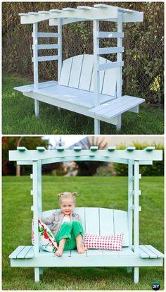 DIY Kids Arbor Bench Instructions Free Plan - Outdoor Garden Bench Ideas  #Furniture
