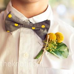 wedding colors: brown and yellow or grey and yellow but definitely the boys will be wearing this...maybe not with the plants there though