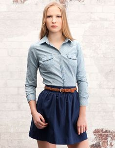 denim blouse with dots not so short skirt though