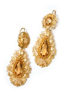 antique citrine jewelry | Images of Antique Cannetille Citrine Long Earrings - The Three Graces