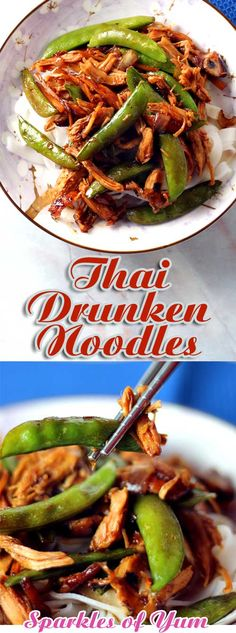 We love trying new recipes, and this recipe for Thai Drunken Noodles has become a favorite. It also happens to be healthy, so that's a bonus. It also comes together quickly another bonus, but most of all it tastes so good! Best Dinner Recipes, New Recipes, Favorite Recipes, Drink Recipes, Asian Recipes, Ethnic Recipes, Chinese Recipes, Chinese Food, Thai Drunken Noodles