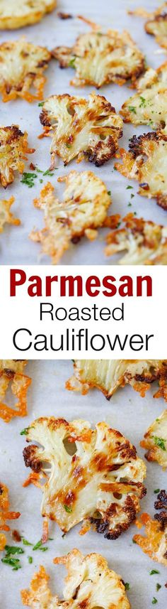 Parmesan Roasted Cauliflower – the most delicious cauliflower ever, roasted with butter, olive oil and Parmesan cheese. Perfect side dish for your holiday meals! Parmesan Roasted Cauliflower, Cauliflower Recipes, Veggie Recipes, Vegetarian Recipes, Cooking Recipes, Healthy Recipes, Delicious Recipes, Vegetarian Barbecue, Veggie Food