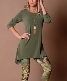 Lbisse Fall Green Sidetail Tunic | zulily