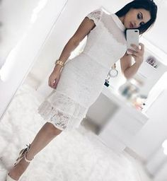Forever in Style - Beauty and Fashion through the centuries Dress And Heels, I Dress, Lace Dress, White Dress, Stylish Dresses, Fashion Dresses, Dress Paterns, Dinner Wear, Ladylike Style