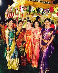 Image may contain: 6 people, people standing Bridal Silk Saree, Silk Sarees, Solid Wood Wardrobes, Saree Blouse Neck Designs, Desi Wear, Pochampally Sarees, South Indian Bride, Blouse Styles, Silk Satin