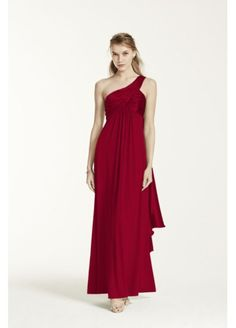 One-Shoulder Long Jersey Dress with Cascade Back F13185 LOVE this one but it comes in sangria not plum