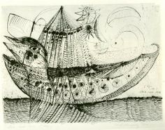 """Ship with Tent by Carl-Henning Pedersen; 1951. Pencil and ink on paper, 12 1/8 x 16 1/8"""" (30.8 x 40.8 cm)."""