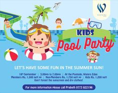 KIDS POOL PARTY AT WATERS EDGE 2016 COLOMBO  http://www.srilankanentertainer.com/sri-lanka-events/kids-event-pool-party-waters-edge/