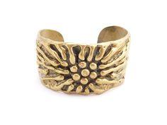 Modernist / Brutalist Brass Cuff Bracelet. $110.00, via Etsy.