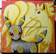 Tableau Dessin sur Toile Aquarelle Pokemon Feunard et Noctali :)