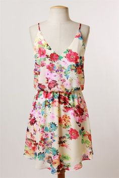 Girl Crush - I've got a girl crush on this adorable floral dress in beautiful bright & pastel shades. The spaghetti straps and v-neck are the prefect fit for the summer days. So, flaunt the girl in you, the cute way!  Available: S-M-L - $42
