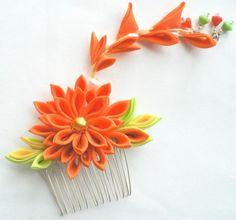 California Sun Fabric Flower Hair Comb Kanzashi by MizuSGarden