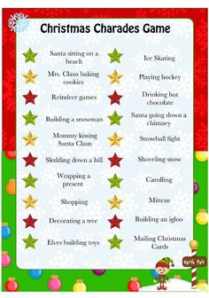 This is a fun & silly Christmas Charades game perfect for a family date night or for a children's Christmas party. Be prepared to laugh!