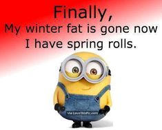 Finally My Winter Fat Is Gone Now I Have Spring Rolls spring funny quotes minion spring quotes happy spring happy spring quotes hello spring goodbye winter first day of spring minion quotes hello spring quotes first day of spring quotes