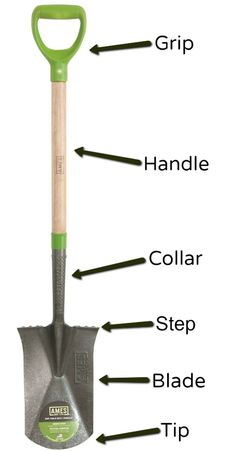 This Guide to Shovels includes a visual look at the most common shovels, the anatomy of the shovel, and how best to dig a hole. Lawn Care, Shovel, Garden Tools, Anatomy, Patio Ideas, Horticulture, Landscaping, Gardening, Building