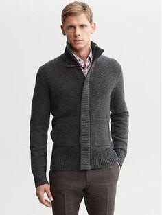 Textured wool toggle sweater jacket   Banana Republic