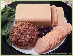 Vegan Cheese Platter, with Tempeh Pimiento Cheese Ball & Smoked 'Gouda Cheese'.