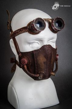 A light leather mask to protect your lungs from the poisonous air in a dystopian world. Filters are made of aluminum. Each mask element is made by hand, including belt buckles. The whole outside part has softly realistic weathering. This would make an excellent addition to any post-apocalyptic or Arte Steampunk, Steampunk Costume, Steampunk Fashion, Steampunk Gas Mask, Steampunk Clothing, Biker Mask, Motorcycle Mask, Leather Mask, Leather Buckle