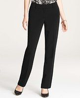 """Curvy Triacetate Straight Leg Pants - Impeccably designed with our wrinkle-resistant triacetate fabric, these wear-with-all straight leg pants boast irresistibly clean lines and a beautifully tailored fit. Slightly more fitted at the waist. Our curviest fit, curvy through the hip and thigh and roomier at the back. Contoured curtain waistband offers extra tailoring detail for a better fit. Front zip with double hook-and-bar closure. Belt loops. Back besom pockets. Lined. 31"""" inseam."""