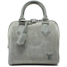 Pre-owned Louis Vuitton Fall Winter 2016 Speedy (6.498.580 COP) ❤ liked on Polyvore featuring bags, handbags, grey, grey handbags, pre owned handbags, top handle handbags, grey suede handbag and preowned handbags