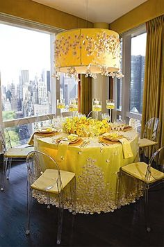 Lovely yellow table cloth & table setting with matching lighting.beautiful Table Décor, Resource One Luxury Linens, Rentals Wedding Centerpieces, Wedding Table, Wedding Decorations, Wedding Reception, Beautiful Table Settings, Wedding Linens, Wedding Dresses, Yellow Wedding, Gold Wedding