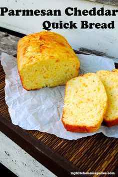 This quick bread recipe is loaded with cheddar and parmesan cheese and is the best! It is moist and tender. Perfect with a bowl of soup or chili