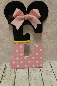 Items similar to Mouse Girl Inspired Decorative Letter Nursery Letter Decor Party Decor with Bow on Etsy Nursery Letters, Diy Letters, Letter A Crafts, Painted Letters, Wood Letters, Decorated Letters, Minnie Mouse Nursery, Mickey Minnie Mouse, Creation Deco