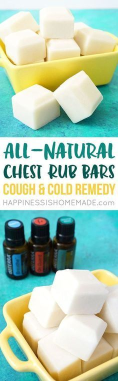 All-Natural Chest Rub Bars: Cough & Cold Remedy. These DIY chest rub bars are a healthy homemade cold remedy for coughing and congestion. Made with all-natural and non-toxic ingredients including shea butter, coconut oil, beeswax, and essential oil. Would